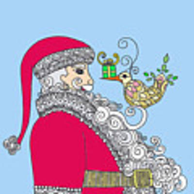 Santa And Bird On Blue Poster by Caroline Sainis