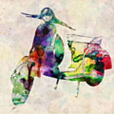 Scooter Urban Art Poster