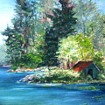 Secluded Boathouse-millsite Lake  Poster by Jan Byington