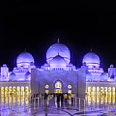 Sheikh Zayed Mosque Panorama View Poster by Yogendra Joshi