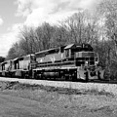 Sprintime Train In Black And White Poster by Rick Morgan