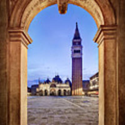 St Mark's Square Arch - Venice Poster by Barry O Carroll