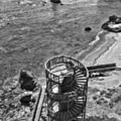 Stairs To Nowhere Pismo Beach Black And White Poster by Priya Ghose