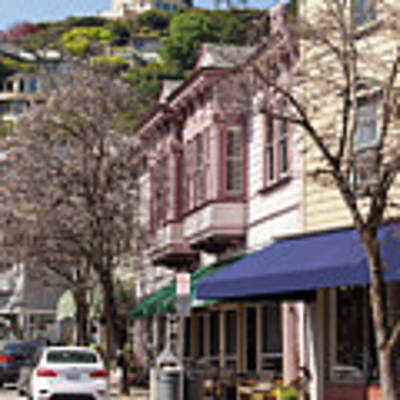 Stores And Restaurants On Bridgeway And Princess Street Sausalito California 5d2888 Poster by San Francisco Art and Photography