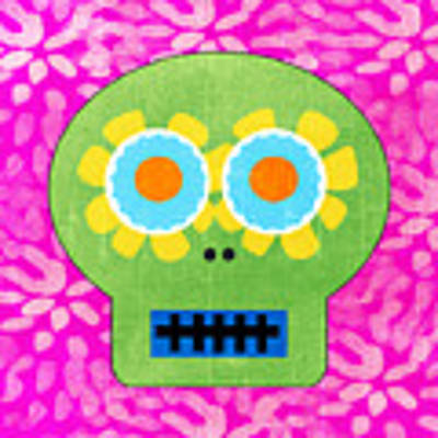 Sugar Skull Green And Pink Poster
