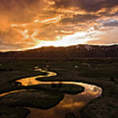Sunrise Over Winding River Poster by Wesley Aston