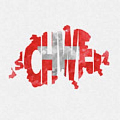 Switzerland Typographic Map Flag Poster
