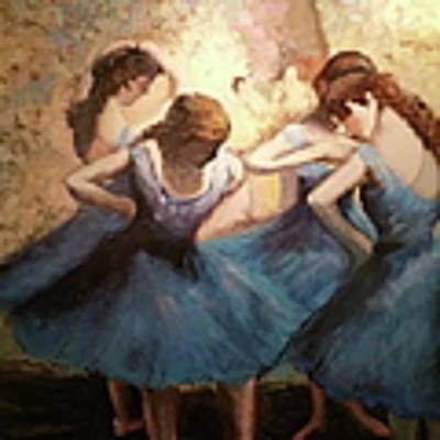 The Blue Ballerinas - A Edgar Degas Artwork Adaptation Poster by Rosario Piazza