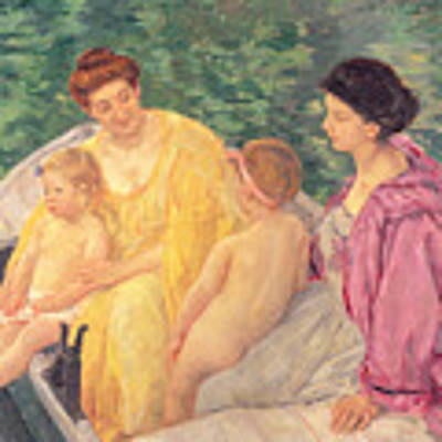 The Swim Or Two Mothers And Their Children On A Boat Poster by Mary Stevenson Cassatt
