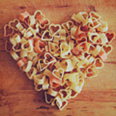 Uncooked Heart-shaped Pasta Poster