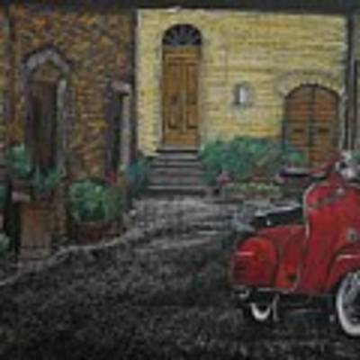 Vespa In The Rain Poster by Richard Le Page