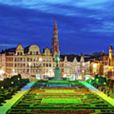 View Of Brussels From Jardin Du Mont Des Arts Poster by Barry O Carroll