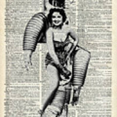 Vintage Girl In Robot Costume Poster