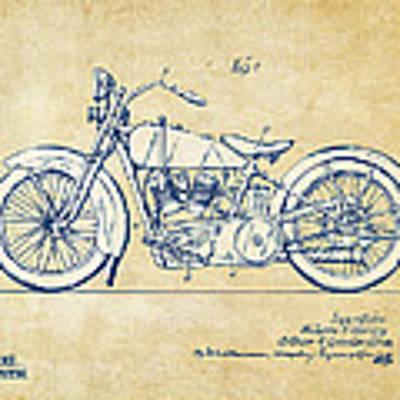 Vintage Harley-davidson Motorcycle 1928 Patent Artwork Poster