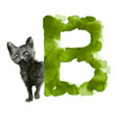 Watercolor Alphabet B Cat Art Print Painting Poster