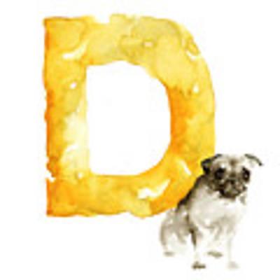 Watercolor Alphabet D Dog Art Poster