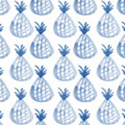 White And Blue Pineapple Party Poster by Linda Woods