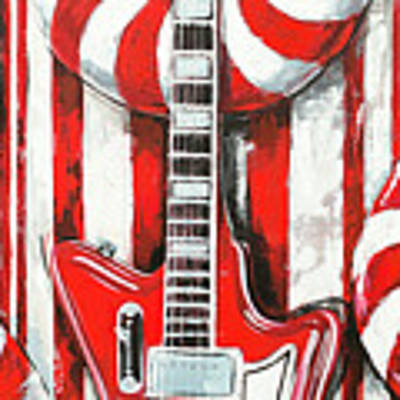 White Stripes Guitar Poster by John Gibbs
