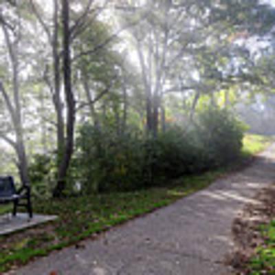 Winona Minnesota Foggy Path With Bench Photograph Poster by Kari Yearous