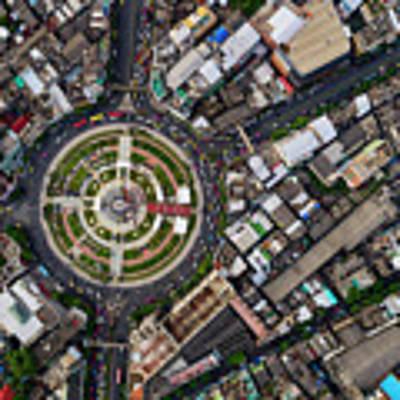 Wongwian Yai Roundabout Surrounded By Buildings, Bangkok Poster by Pradeep Raja PRINTS