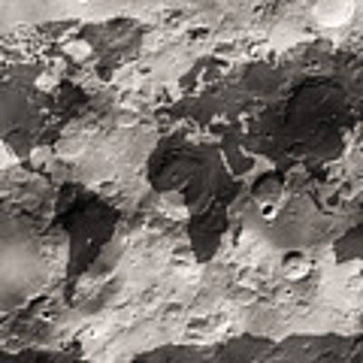World Map On The Moon's Surface Poster