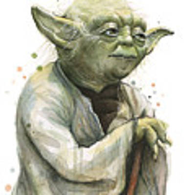 Yoda Watercolor Poster by Olga Shvartsur