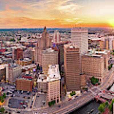 Aerial Panorama Of Providence, Rhode Island Poster by Mihai Andritoiu
