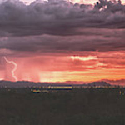Arizona Sunset Lightning  Poster by Chance Kafka