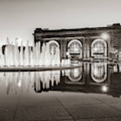 Bloch Fountain At Union Station - Downtown Kansas City Sepia Poster by Gregory Ballos