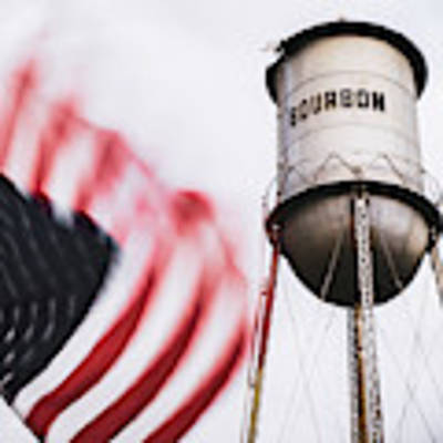 Bourbon Water Tower Usa Vintage - 1x1 Poster by Gregory Ballos