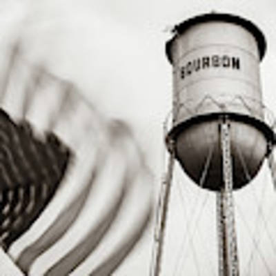 Bourbon Water Tower Usa Vintage - 1x1 Sepia Poster by Gregory Ballos