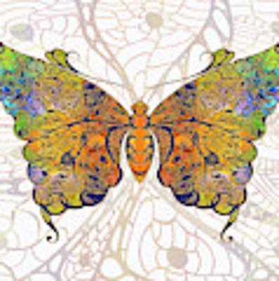 Butterfly Zen Meditation Abstract Digital Mixed Media Artwork By Omaste Witkowski Poster by Omaste Witkowski