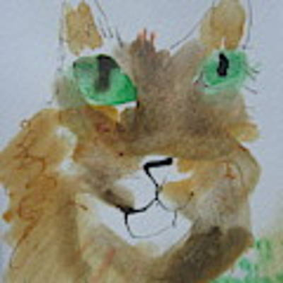 Cat Face Yellow Brown With Green Eyes Poster by AJ Brown