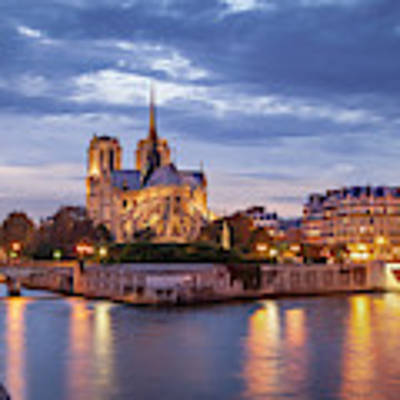 Cathedral Notre Dame And River Seine Poster by Brian Jannsen