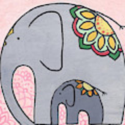 Elephant And Child On Pink Poster by Caroline Sainis