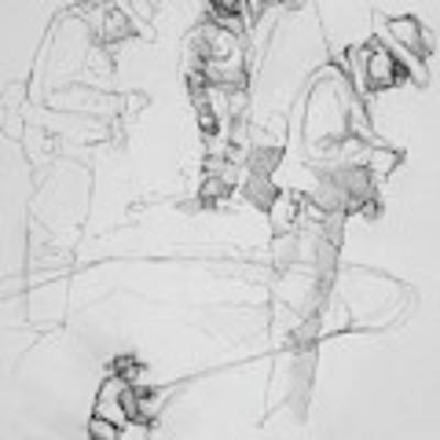 Fly Fisherman Sketch Poster by Jani Freimann