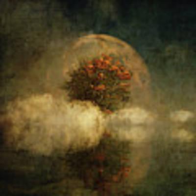 Full Moon Over Misty Water Poster by Jan Keteleer