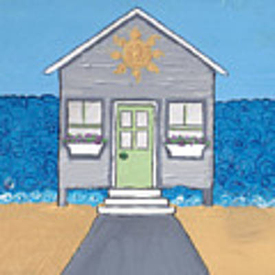 Gray Cottage On The Beach Poster by Caroline Sainis