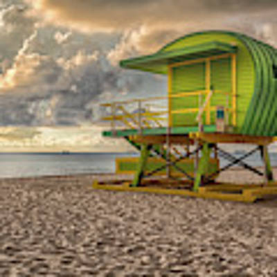 Green Lifeguard Stand Poster by Alison Frank