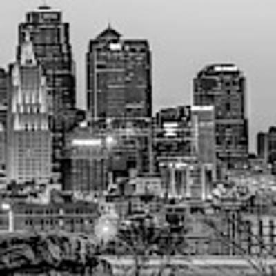Kansas City Skyline At Dawn - Monochrome Poster by Gregory Ballos