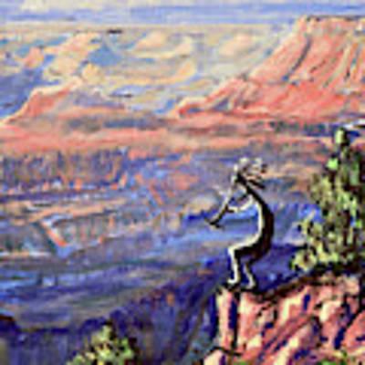 Kokopelli At The Grand Canyon  Poster by Chance Kafka