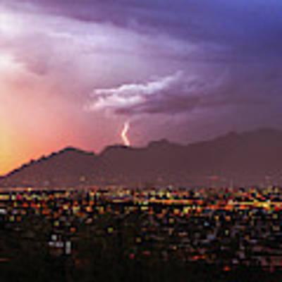 Lightning Bolt Over The Santa Catalina Mountains And Tucson, Arizona Poster by Chance Kafka