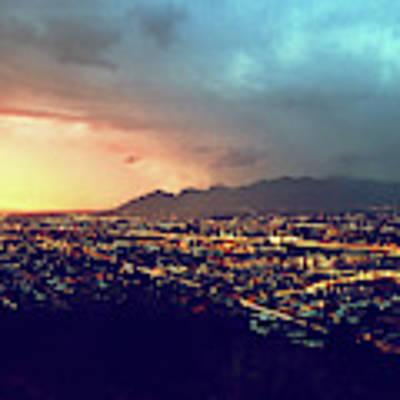 Lights Of Tucson, Arizona During Monsoon Sunset Rains Poster by Chance Kafka