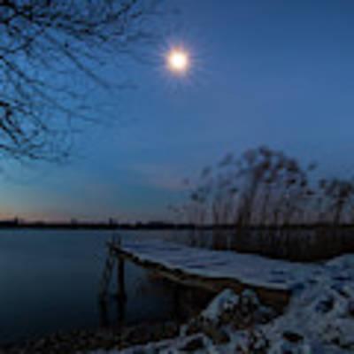 Moonlight Over The Lake Poster by Davor Zerjav