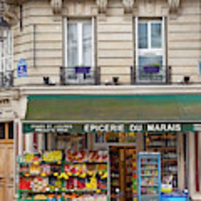 Paris Corner Grocery Poster by Brian Jannsen
