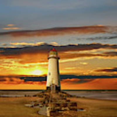 Point Of Ayr Lighthouse Sunset Poster by Adrian Evans
