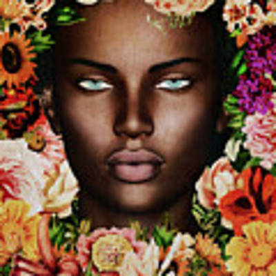 Portrait Of African Woman Surrounded With Flowers Poster by Jan Keteleer