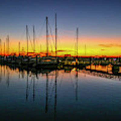 Pre-dawn Marina Colors Poster by Tom Claud