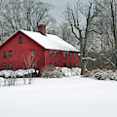 Red New England Colonial In Winter Poster by Wayne Marshall Chase