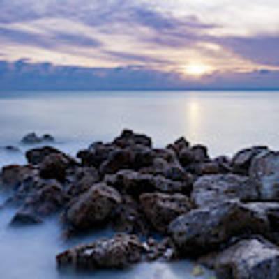 Rocky Beach At Sunset II Poster by Brian Jannsen
